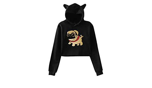 LL/&YGG Womens Long Hoodie Pug Life Womens Long Sleeve Outerwear