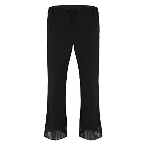 ACSUSS Men's Sequin Cuff Bell Bottom Disco Pants Flared Trousers Dude Costume Black Medium