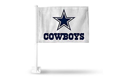 Rico NFL Dallas Cowboys Car Flag, White, with White Pole