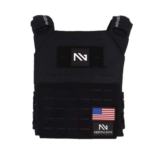 North Gym Adjustable Weighted Vest/Incl. 2 Innovative Moulded Weights for Best fit / 14lbs / 20lbs