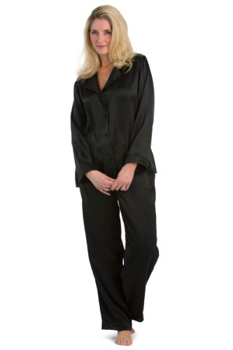 Silk Professional (Fishers Finery Women's Classic Pure Mulberry Silk Pajama Set with Gift Box, Moonless Night, Medium)