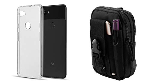 Bemz Ultra Slim Series Compatible with Google Pixel 3a XL Case Bundle with Soft TPU Silicone Protective Phone Cover (Crystal Clear) with Tactical MOLLE Organizer Travel Pouch and Atom Cloth