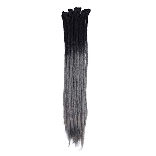 (20 inch Dreadlocks Hair Extensions Ombre Two Tone for Men & Women Handmade Twist Crochet Braids Synthetic Fiber for Reggae & Hip-hop (Black to Dark Grey, 10)