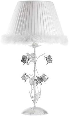 onli lámpara de mesa metal plateado y tulipa blanco Plissé con ...