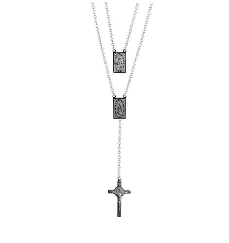 (Scapular Stainless Steel Necklace Rosary With 2 Medallions Our Lady of Mount Carmel and Sacred Heart of Jesus, Scapular Catholic, Escapularios Catolicos, Virgin Mary Necklace, Silver Rosary Necklace)