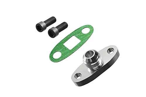 PitVisit -10AN Fitting Turbo Oil Flange Adapter Kit with Gasket and Bolts (.4740 Inch - Bolt Turbo Kit