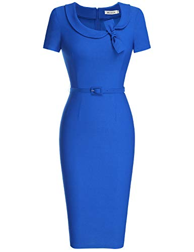 MUXXN Women's Fall Empire Waist Tunic Sheath Mid Length Plain Pencil Dress (XL Color Blue) ()