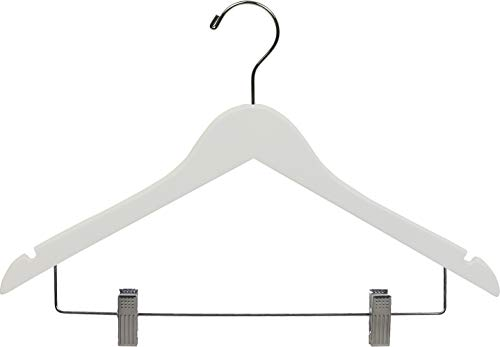 White Wood Combo Hanger w/ Adjustable Cushion Clips, Box of 25 Space Saving 17 Inch Flat Wooden Hangers w/ Chrome Swivel Hook & Notches for Shirt Jacket or Dress by The Great American Hanger Company