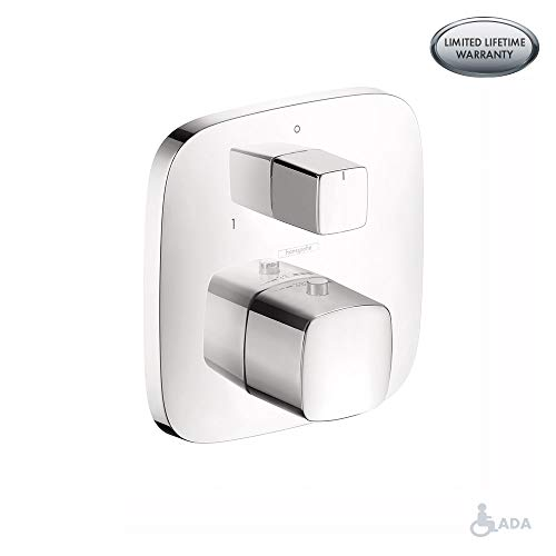 Hansgrohe 15771001 PuraVida Thermostatic Valve Trim with Integrated Diverter and Volume Controls, 6.13 x 6.13 x 3.50 inches, Chrome from Hansgrohe