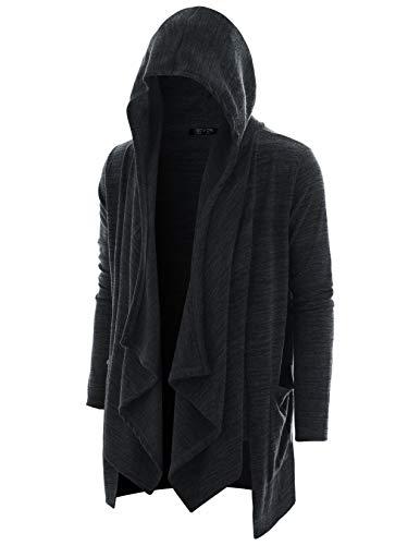 (GIVON Mens Long Sleeve Draped Lightweight Half Ruffle Shawl Collar Cardigan Hooded Cardigan with Pocket/DCC345-BLACK-M)
