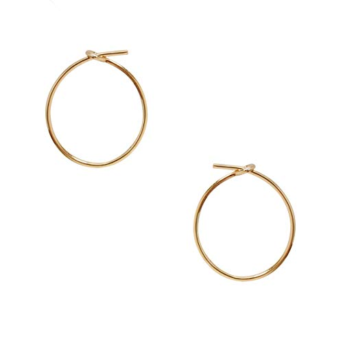 (Humble Chic Small Hoop Earrings for Women - Hypoallergenic Round Lightweight Wire Threader Loop Tiny Huggies, 18K Yellow - 0.5 inch, Gold-Electroplated, Tiny)