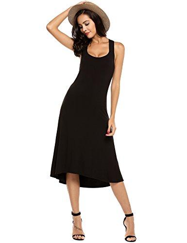 Zeagoo Women's Strappy Casual Loose Boho Halter Long Maxi Beach Party Dress,Black,X-Large
