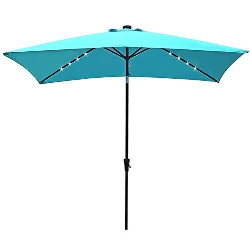 COBANA 9.8 by 6.6 Solar Powered 22 LED Lighted Outdoor Patio Rectangle Table Market Umbrella Aluminum Crank Tilt Umbrella, Blue