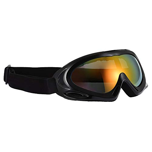 Amorly Anti-Fog Ski Goggles - Single Layer Lens for Sports Snowboard Skate Motorcycle Cycling Glasses,Snow Goggles for Adult Men Women Children (Black) ()
