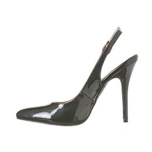 Stiletto Black Pump Women's Lucy Riverberry Patent Sling Back Pointed Heels toe 0ZzAg