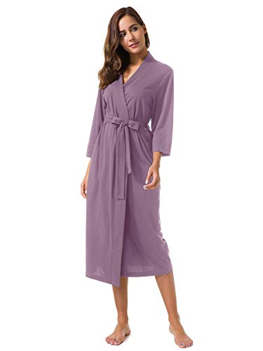 - SIORO Women's Kimono Robes Cotton Lightweight Robe Long Knit Maternity Bathrobe Soft Jersey Sleepwear V-Neck Ladies Nightwear,Dusty Purple L