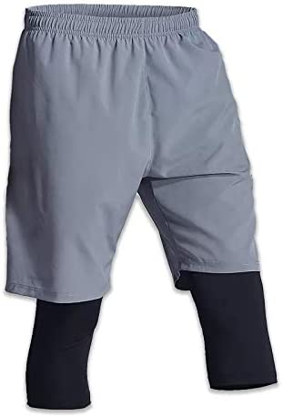 Generico Men's Shorts, 2 Layers for Workouts and Gym. Polyester and Cotton