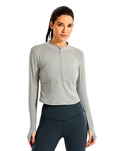 CRZ YOGA dames loopshirt thermo-functioneel shirt lange mouwen met halsritssluiting