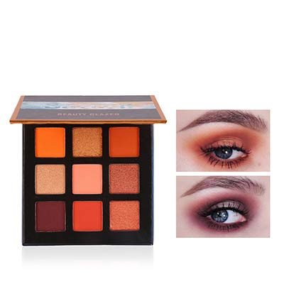 Beauty Glazed New Fashion Cosmetics 9 Colors Shimmer Eyeshadow Cream Matte Glitter Eye Shadow Palette Natural Waterproof Long Lasting Pigmented Eyeshadow Powder # 02 Vibrant Orange