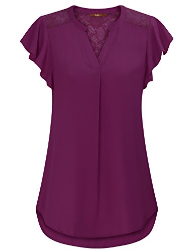 Gaharu V Neck Blouse, Juniors Floral Lace Shirts Plus Size Pleates Front Fit and Flare Tops Bell Short Sleeve Burgundy Chiffon Tunic Blouses Dark Red,Small (Ruffle Top Shirt Blouse)
