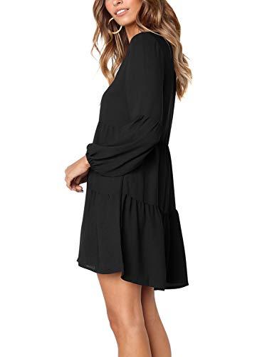 Manica Vestito Casuale Lusinghiero Sciolto Increspato Nero da Lunga Beluring Donne Altalena R1wxqaAWH