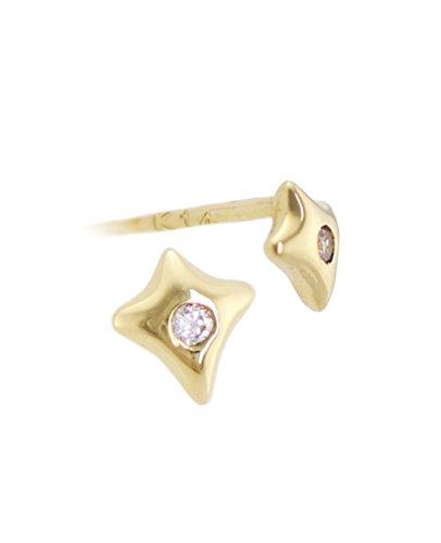 14K Solid Gold Dainty Tiny Star Sparkle Stud Earring Piercing | Minimalist Jewelry for Women - Yellow (Bezel Ear Piercing Studs)