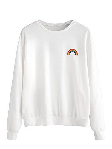SweatyRocks Womens Casual Long Sleeve Pullover Sweatshirt Alien Patch Shirt Tops (Small, White_Rainbow)