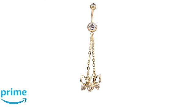 Piercing para el ombligo, diseño de mancuernas colgantes con mariposas, piercing para el cuerpo, joyería: Amazon.es: Hogar