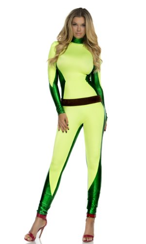 Forplay Women's Out For Vengeance Superhero Catsuit and Belt, Yellow, Small/Medium -
