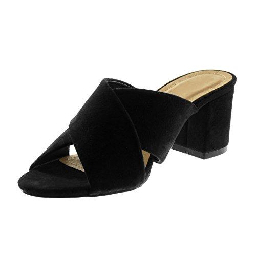Angkorly Noir Chaussure Slip Femme Bloc on Haut Lanière Sandale 7 Mode Talon Mule Cm rrRfOq