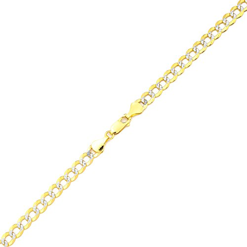 LoveBling 14K Yellow Gold 5.5mm 7'' Solid Pave Two-Tone Curb Chain Bracelet with White Gold Pave Diamond Cut, with Lobster Lock by LOVEBLING (Image #1)