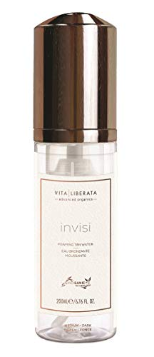Invisi Sunless Tanning Mousse - VITA LIBERATA Invisi Clear Foaming Self Tan Water, Organic, Natural and Vegan Fake Tan Medium-Dark 6.76 fl. Oz.