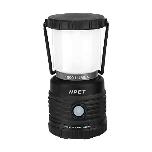 NPET LED Camping Lantern, USB Rechargeable, 1000 Lumen Dimmable Light Warm White Cool White, 4 Lighting Modes