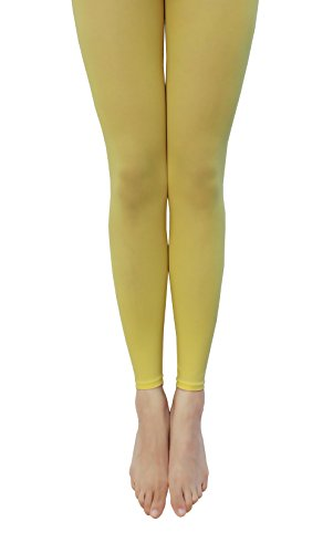 [NovaLava] Womens Semi Opaque 80 Denier Footless Pantyhose Tights Yellow (Genie Leggings M)
