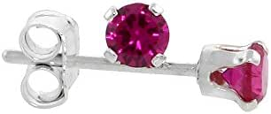 Sterling Silver Cubic Zirconia Ruby Earrings Studs 3 mm Red Color 1/4 carat/pair
