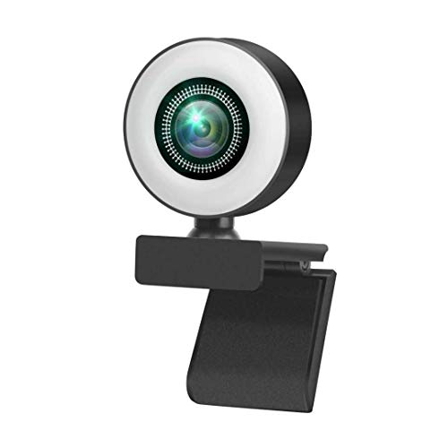 1080P Webcam with Microphone, USB 2.0 Plug and Play,Ring Light w/Adjustable Brightness Auto Focus Web Camera for Video Calling Conferencing Online Classes 3 Megapixel Black
