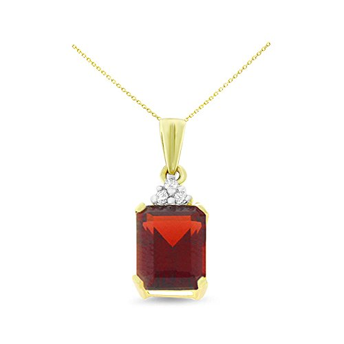 14K Yellow Gold 6 x 8 mm. Emerald Cut Garnet and Diamond Pendant With Square Rolo Chain - Necklace Square Garnet