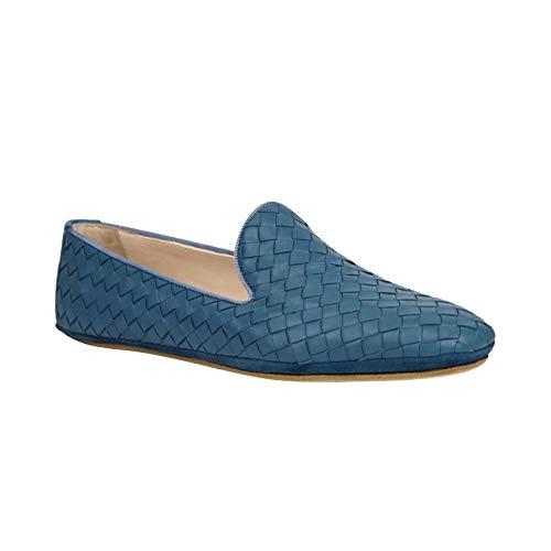 Bottega Veneta Women's Slip On Blue Leather Smoking Flat Shoes 407408 4444 (EU 40 / US 10)