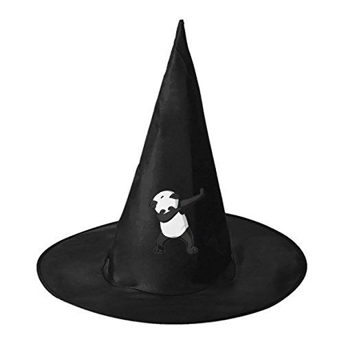 Homemade Panda Costume (Cartoon Dab Panda Black Wizard Cap Witch Hat for Adults Kids Halloween Costume Party)
