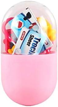 SUGE ままごと お医者さん 遊びごっこセット ドクターのロールプレイ 医者ごっこ遊び お医者さんに変身 知育玩具 子供 プレゼント カプセル収納ケース パーツランダム 20点セット ピンク