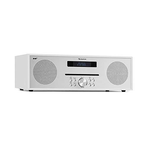 auna Silver Star CD-DAB CD-speler met DAB + en FM-radio – slot-in CD-speler, CD-radio, Bluetooth, 2 x 20 watt max., USB, AUX-IN, hoofdtelefoonuitgang, aluminium, incl. Afstandsbediening, wit
