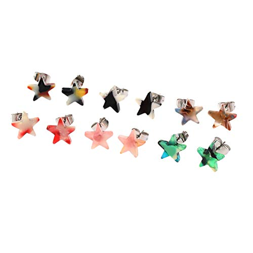- YILIBAO YILIBAO Star Heart Cross Stud Earrings Mottled Bohemia Acrylic ear stud for Girls and women (Star)