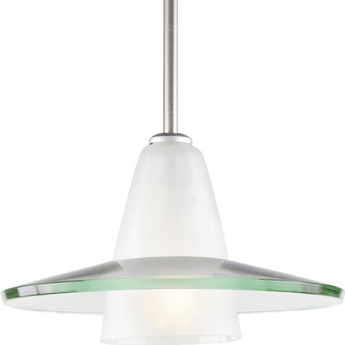Progress Lighting P5011-09 Contemporary Stem-Hung Pendant with An Etched Glass C1 Supporting A Curved Clear Glass Shade Canopy, Brushed Nickel - Brushed Nickel 100w Stem
