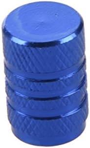REFURBISHHOUSE 4個青の合金の車のタイヤバルブは、自動バルブキャップキャップ