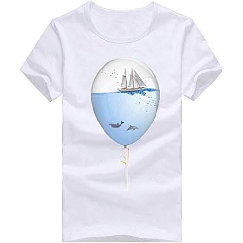Willsa Mens Shirts, Unisex Solid Color Balloon Printing Tees Shirt Short Sleeve Casual Couples Tops Blouse White by Willsa (Image #7)