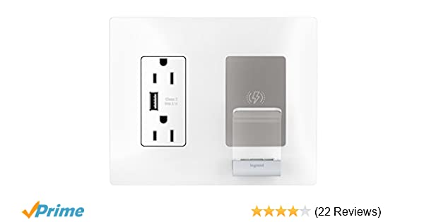 Radiant RWC826USBWCCV2 Wireless Charger Qi Certified, First in-Wall  Wireless Phone Charging Solution for iPhone and Samsung, White