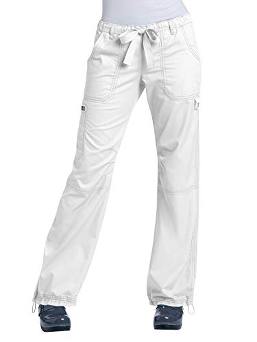 KOI Women's Lindsey Ultra Comfortable Cargo Style Scrub Pants, White, Large (White Cargo Pants)