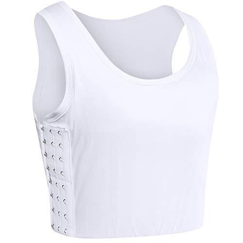 XUJI Super Flat Lesbian Tomboy 3 Rows Clasp Chest Binder Slim Fit Tank Tops Bra (White, 4XL)