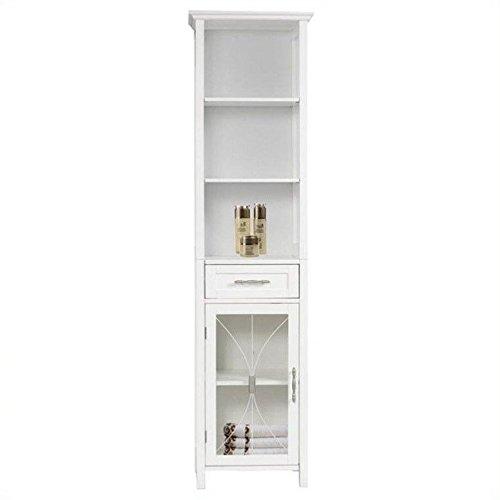 "Elegant Home Fashions Delaney 65"" 1-Door Linen Cabinet in Wh"