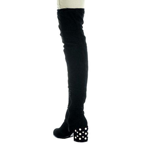 Angkorly Damen Schuhe Oberschenkel-Boot - Oberschenkel-Boot - Flexible - Perle Blockabsatz High Heel 7.5 cm Schwarz